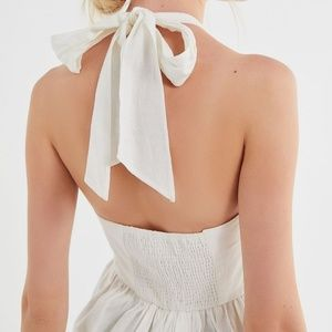 UO Marnie Linen Halter Mini Dress
